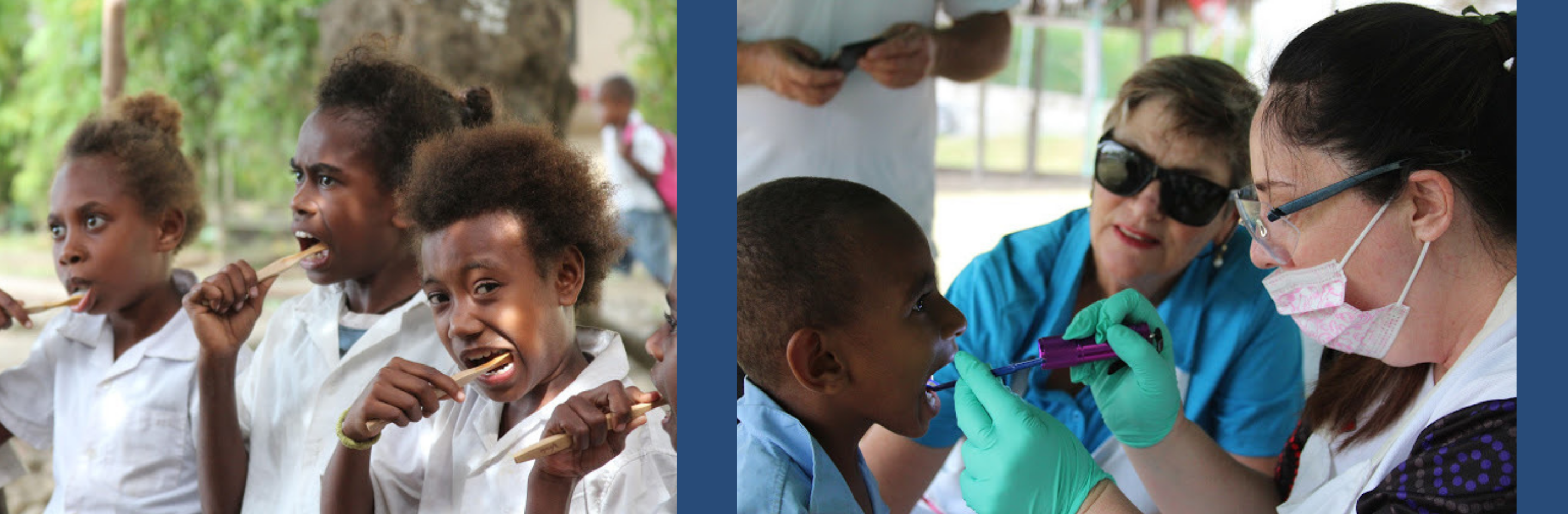 Dental volunteers provide children and teachers with toothbrushes, dental check-ups and emergency dental treatment.